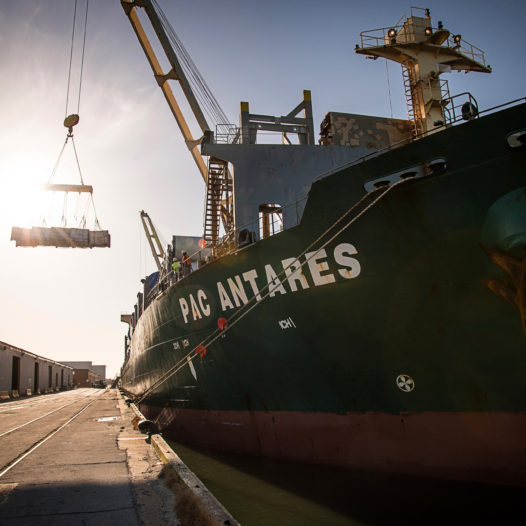 The PAC Antares unloads rubber at the Port of Morehead City.