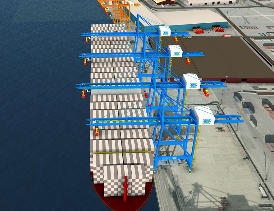 Computer generated graphic of cranes over container ship