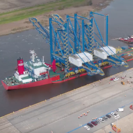 Aerial view of panamax cranes