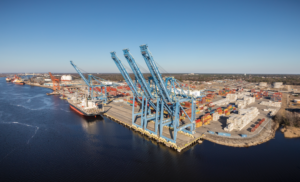 aerial view of cranes in port